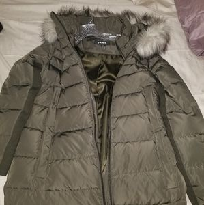 DKNY women's puffer jacket, removable hoodie